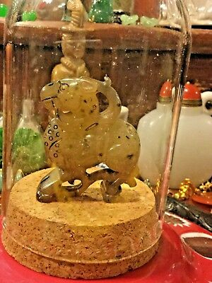 #state find JADE magnificent ICE JADE DEAR antique JADE GLASS COVER JAR ART rare
