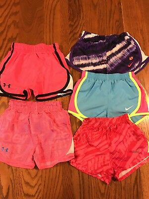 Underarmour, Nike 4/4t Sport Girls Athletic Shorts Multi Color -lot2 with 5 pair