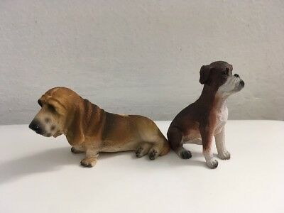 Lot of 2 Resin Dog Figurines Basset Hound And Boxer 3.5 inches Tall