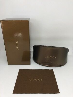 New GUCCI Case Sunglasses Eyeglasses Gold X-Large Brown Gucci Case With Box
