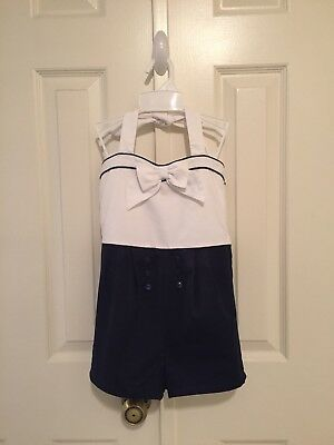 "Janie and Jack - ""Sail Away"" Retro Sailor Halter Sunsuit - size 6 - Note Flaw"