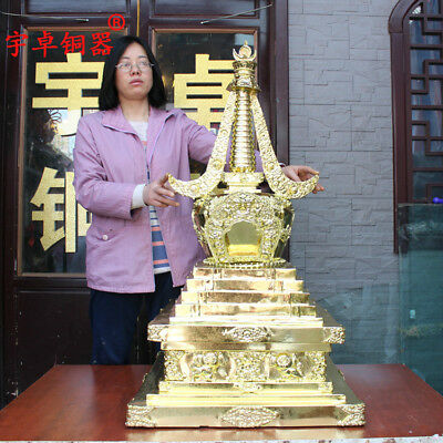 41'' China Tibet Temple Pagoda Tower Stupa Gilt Bronze Statue