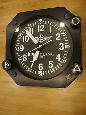 """Breitling  Showroom Wall Clock ,display 14"""" mint condition"""