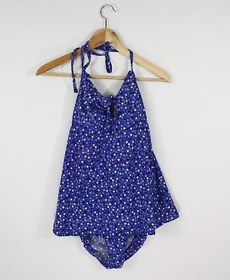 Motherhood Maternity Blue Floral Print Halter Swimdress Swimsuit One Piece S