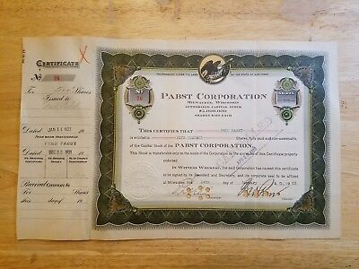 1922 Pabst Corporation PROHIBITION ERA Stock Certificate SIGNED 2x by FRED PABST