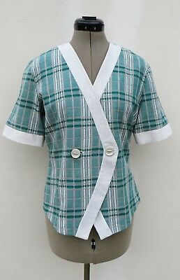 Vintage 80's overseas Woolworths check linen blend jacket,size approx 14