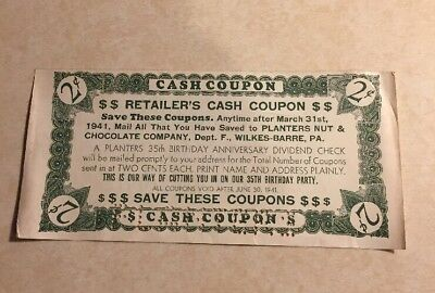 1941 2c Retailer Coupon Planters Peanuts 35th Anniv Dividend Check Wilkes Barre