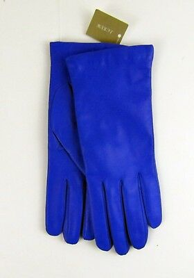 NWOT J Crew Italian leather gloves Size M Cashmere lined Blue $128 E4277
