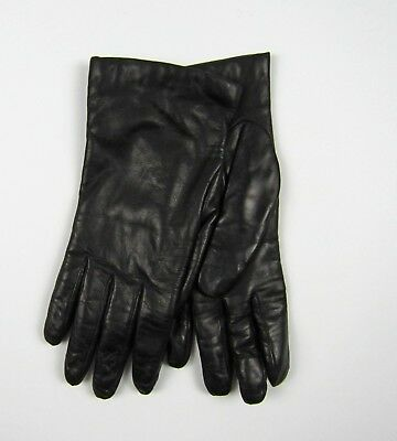 NWOT J Crew Italian leather gloves cashmere lined Black M & L $128 E4277