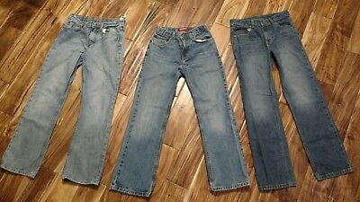 GUC LOT of 3 Boys Sz 14 Adjustable Waist Denim Blue Jeans Faded Glory 77 Arizona
