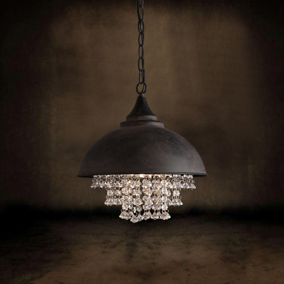Vintage Rust Metal Dome Shade with Clear Crystal Pendant Ceiling Hanging Light