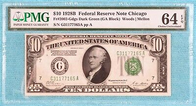 1928-B $10 CU-64 EPQ G-Chicago Fr#2002-G FRN Redeemable Gold Uncirculated Unc