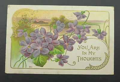 Antique Victorian Postcard Remembrances You are in my Thoughts Violets Nouvea