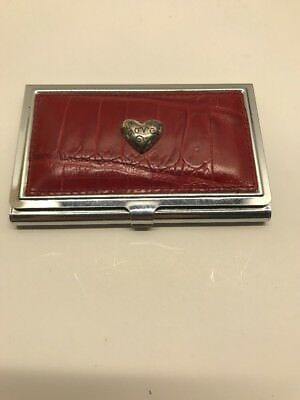 Brighton brown leathersilver love heart business card holder brighton brown leathersilver love heart business card holder colourmoves