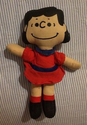 """Vintage Ideal Toy Corp. Peanuts Gang 8"""" Lucy van Pelt Cloth Doll"""