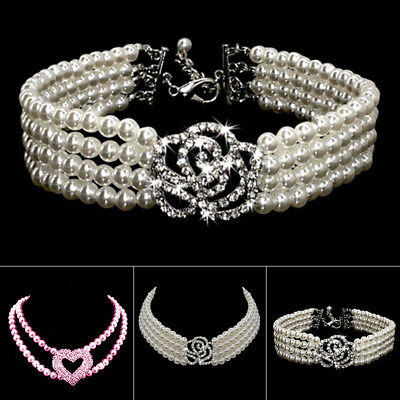Bling Rhinestone Dog Necklace Collar Heart Jewelry Pearls Diamante for Pet Puppy