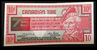 Scarce Canadian Tire 75th Anniversary 10 Cent Note 1997 Specimen #000000000
