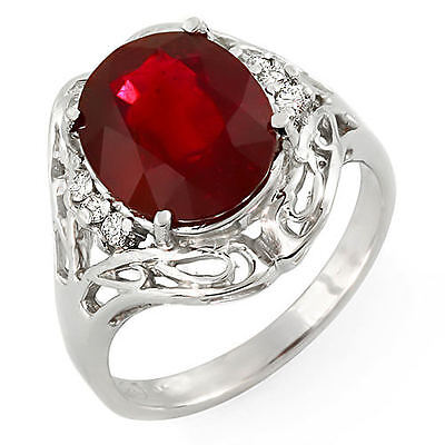 Estate ring 4.8 ct natural ruby and diamond 14k gold
