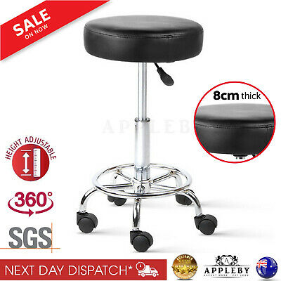 Swivel Stool with Wheels Black with Gas Lift Lever Round PU Leather Salon Bar
