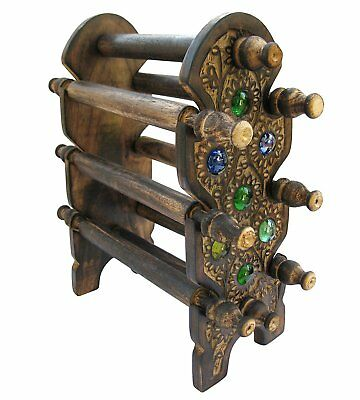 Wooden Bangle / Bracelet Holder Jewelry Stand Handmade Carving 12 Inches