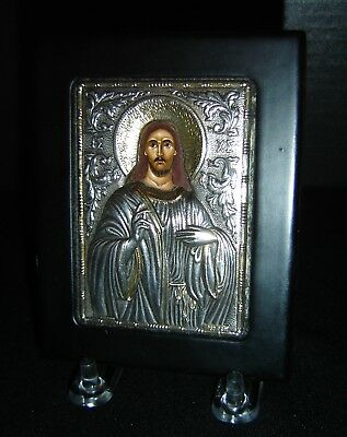 Antique Russian Byzantine Sterling Silver 950 Small Icon Signed W Certificate NR