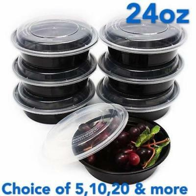 """24oz Meal Prep 7"""" Round Food Containers with Lids, Microwavable Plastic BPA free"""