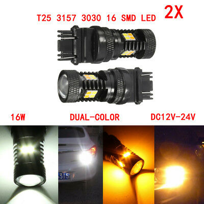 2X T25 3157 16 LED Switchback 3030 SMD Dual Color Car Turn Signal Light bulbs