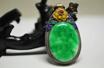 Beautiful Chinese Tibet Cloisonne Silver Inlaid Jade Pendant