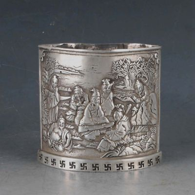 Collection Chinese Rare Silvering Copper handwork character Brush Pot