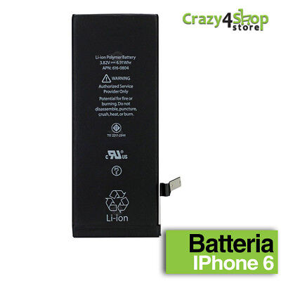 BATTERIA NUOVA CAPACITA' COME ORIGINALE APPLE IPHONE 6 1810 mAh RICAMBIO 0 CICLI