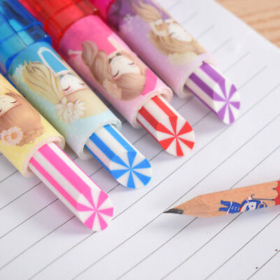 Colorful Cute Lipstick Rotary Rubber Eraser Stationery Pencil Kids Students Gift