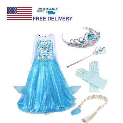 HOT Girls Frozen Elsa Princess Anna Dress Costume Party Dresses Cosplay US Local