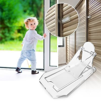 Sliding Door Lock for Child Safety, 4 Pack, Baby Proof Closets, Windows, Clear