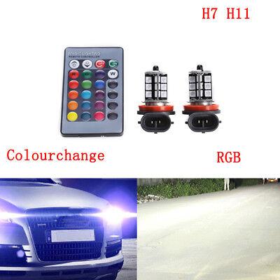 H7 HB3 HB4 H11 LED BULBS RGB Colourchange Car foglight headlight remote control