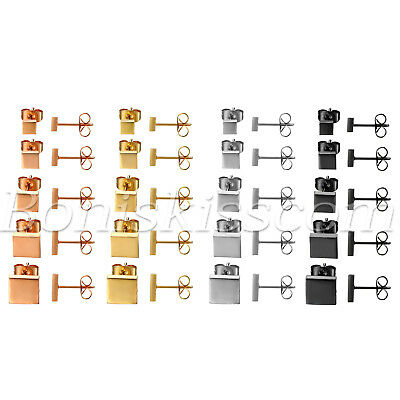 5 Pairs Men Women Polished Square Stainless Steel Ear Studs Earrings 4mm-8mm Set