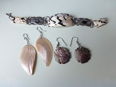 Vintage Lot Of 3 Mixed Drop  Earrings  Carved Genuine Shell &matching Bracelet