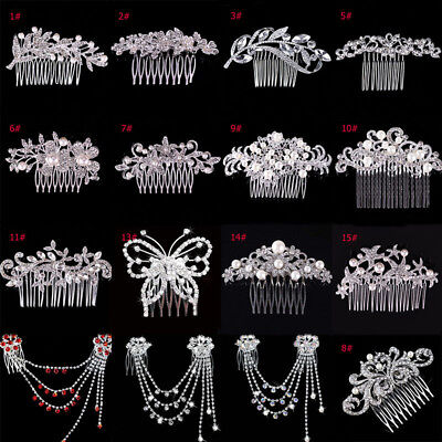 Women Crystal Rhinestone Pearl Hairpin Flower Hair Clips Comb Wedding Jewelry
