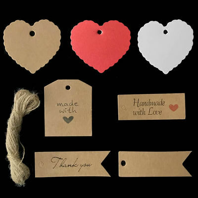 50/100 Kraft Paper Gift Tags Scallop Card Label Luggage Wedding Blank + Strings