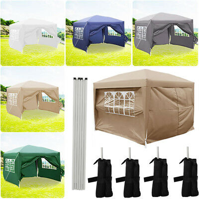 4 Sides Waterproof Outdoor Pop Up Garden Gazebo Marquee Awning Party Canopy Tent