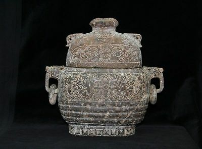 Tang Dynasty Big Jade Vessel & Cover with Loose Ring Design