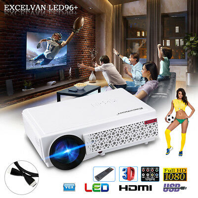 Full HD 1080P 5000 Lumens LED 3D Beamer Heimkino Projektor HDMI*2/USB*2/ATV/USB