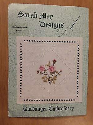 Vintage Sarah May Designs Hardanger Embroidery Pink Roses Flowers