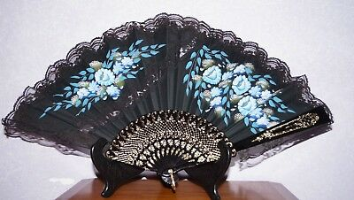 Antique Chinese Hand Painted Celluloid Hand Fan Black Silk & Lace Flowers Large
