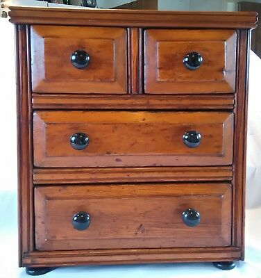 Beautiful Stained Pine Apprentice Type Four Drawer Chest/Jewellery Box