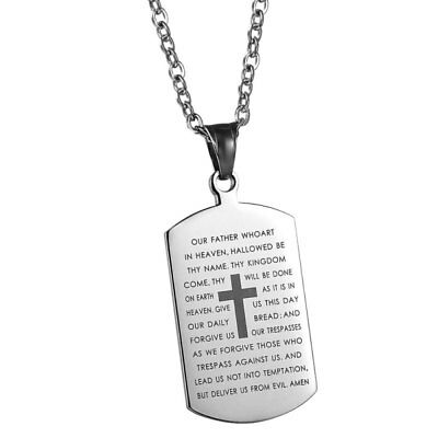 Mens Stainless Steel Cross Crucifix Bible Text Prayer Tag Pendant Necklace