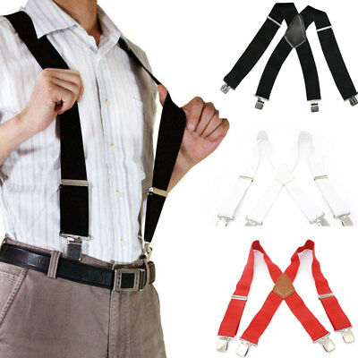 Men Ladies 50mm Wide Braces Plain Heavy Duty Suspender Elastic Black 3 colors us