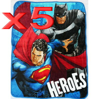 5pc Wholesale Bulk Lots Kids Fur Fleece Blanket Heroes Batman Polar Throw Soft