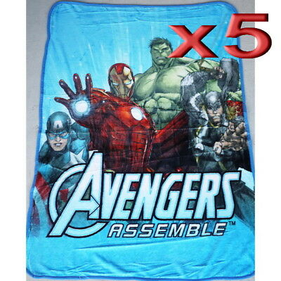 5pc Wholesale Bulk Lots Kids Boys Fur Fleece Blanket Avengers Polar Throw Soft