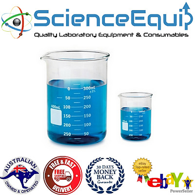 Glass BEAKERS Graduated Research Grade Low Form, Various Size & KITS, 1 or 3 pcs