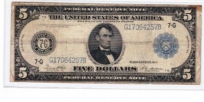 1914 $5 Five Dollar Large Bill Federal Reserve Note - Chicago, IL